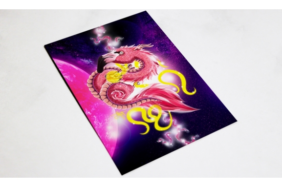 Flamingo Dragon Postcard preview