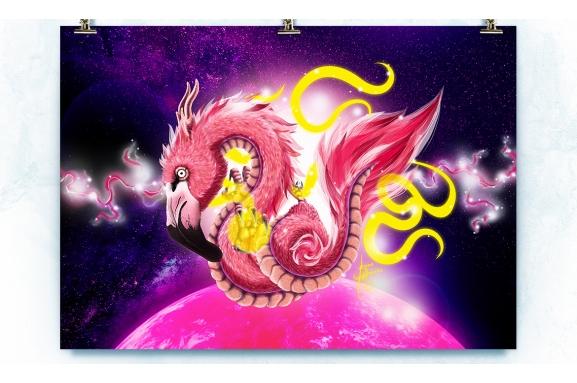 Flamingo Dragon Limited Edition Print Detail